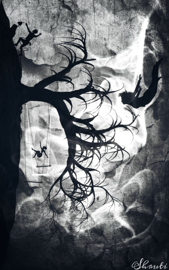 Upside down edit.😂 #blackandwhite #edited #texture #silhouette #swing #textures #illustration #artistic #quicktip #art #fantasy #tree #falling #surreal #surrealism #clipart