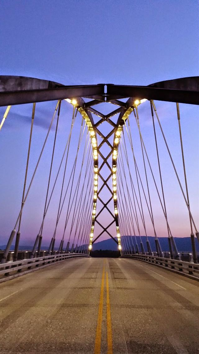 #bridge  #lights #sunset #road #twilight