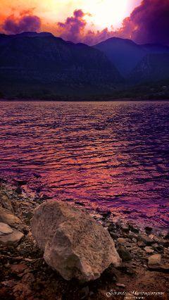 hdr mountains lake stone sunset