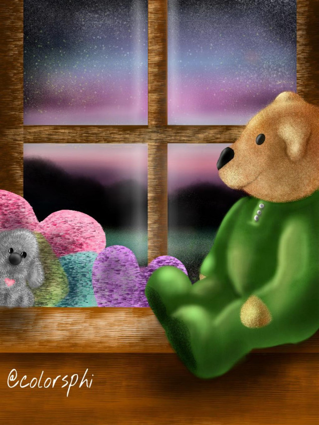 (Northern magic night)original Drawing,  was inspired by the northern lights and the magical and beautiful it must be to be there and see it, i hope a dream come true#digitaldrawing#art#teddybear.twitter:@colorsphiart( no pude escoger cual me gusta más por eso hay 2 uno con filtro y el dibujo original :)