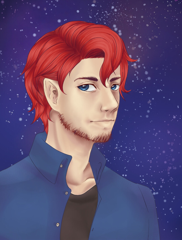 I'm busy af  This is a birthday gift I drew just to post something  #werewolf #redhead #stars #sky