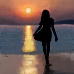 dcsilhouette beach sunset girl