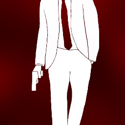 gdcoloroutline red guy gun white