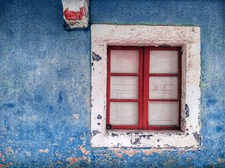 retro vintage blue red window